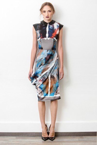 Assymetric printed dress