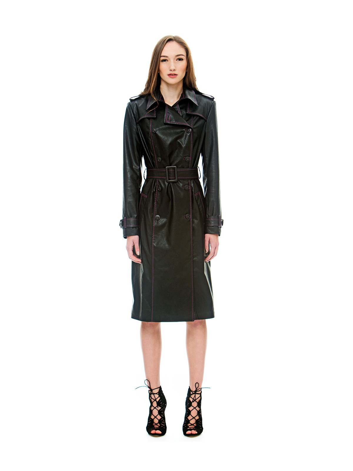 Black-lilac trench coat