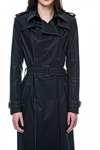 Black-turquise trench coat