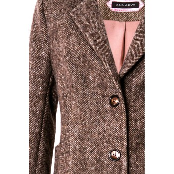 Fishbone patterned wool coat