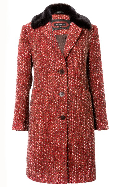 Red wool coat with dark fur collar