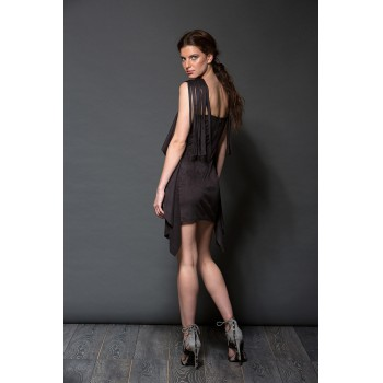 Minidress with fringed shoulders