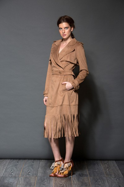 Velour trench coat