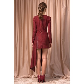 Asymmetric velour dress